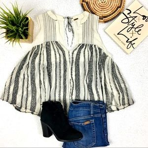 Free people black and white striped top Sleeveless